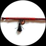 Bracelet enfant  rouge à strass, cabochon fé fait main unique.
