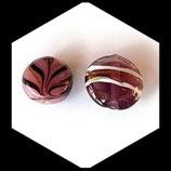 Perle palet rond verre bombé 18 et 22 mm prune, lot de deux palets Réf : 1068