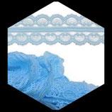 Dentelle polyester bleu clair 4.5 cm X  7 m. DEN028