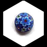 Bouton snap chunk fimo et strass fleurs bleues 19 mm pour bijoux personnalisables Réf 1467