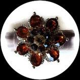 Grosse bague élastique fleur 3D strass ambre deux nuances métal argenté BAG146