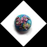 Bouton snap chunk fimo et strass fleur papillon turquoise multicolore 19 mm pour bijoux personnalisables Réf 1472