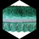 Dentelle brodée fleurs organza vert 4 cm DEN083