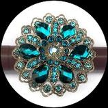 Grosse bague élastique 3D strass turquoise et bleus métal argenté BAG115