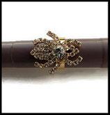 Bague fantaisie réglable araignée strass, support métal doré BAG105