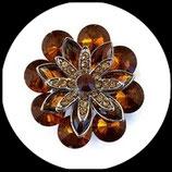 Grosse bague élastique fleur ambre 3D strass métal argenté BAG092