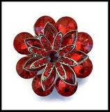 Grosse bague élastique fleur rouge 3D strass métal argenté BAG091