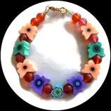 Bracelet enfant papillons fimo et perles rouge fait man unique.