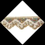 Dentelle ruban organza doré brodée  sequins or irisé 5 cm X 1 mètre DEN009