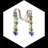 Boucles pendants oreilles percées chic cristal de swarovski bleu jaune vert fait main BO009