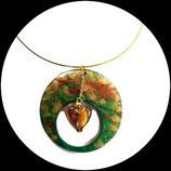 collier pendentif émail coeur en verre doré bijou artisanal