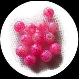 Perles de verre rose marbré 8 mm X 13 perles Réf : 904