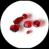 perles de verre  rouge assortiment lot de 6 pièces Réf : 1368