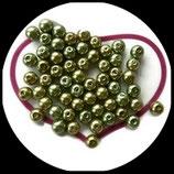 lot de 30 perles nacrées mélange vert doré 8 mm création bijoux Réf : 1531