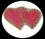 applique deux coeurs roses, galon et sequins, à coudre ou à coller APP117