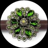 Grosse bague élastique 3D strass camaïeu de vert métal argenté BAG114