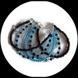 Bracelet manchette 5 rangs perles de verre,  svarowski turquoise et noir  - bijou fait main