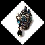 Broche papillon strass turquoise et vert, broche bijou fantaisie strass  BRO049