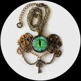 collier pendentif steampunk engrenages - oeil vert