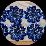 Applique fleur 3D bleu royal sequins et perles 3 cm Lot de 2 pièces APP023