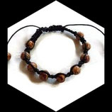 Bracelet shamballa noir, perles bois marron