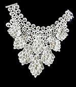 Faux col applique dentelle  brodée, perles FC0064