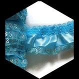 Volant dentelle,satin, organza turquoise,  sequins 4.50 cm DEN069