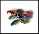 Perles verre olives en mélange - lot 9 perles verre olives multicolores Réf  : 1396