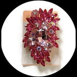Broche strass rose support métal doré BRO 006