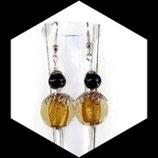 Boucles oreilles perle ambre et noir