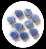 Perles de verre coeur nacré bleu. Lot de 3 perles. PER263