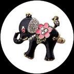 Bague élastique deux doigts éléphant émail et strass BAG054