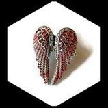 Bague  élastique argentée ailes d'ange rouge à strass  BAG070