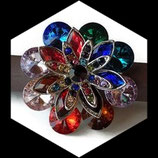 Grosse bague élastique fleur multicolore 3D strass métal argenté BAG112