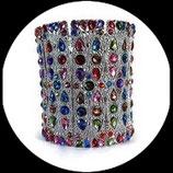 Bracelet manchette strass multicolore, métal argenté. BRA009