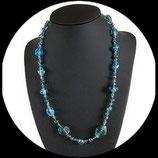 Collier bleu  perles de verre véritables vintage façon Murano - bijou de créateur fait main.