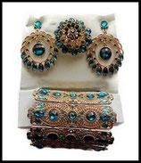 Parure bijoux fantaisie 3 pièces strass  couleur turquoise, métal doré PAR032