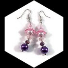 Boucles pendants oreilles perles couleur rose et violet faites main