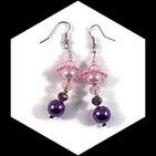 Boucles pendants oreilles perles couleur rose et violet faites main. BO018