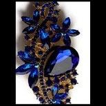 Broche fleurs métal doré, strass bleu royal BRO079
