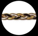 Galon tresse lurex ruban satin noir or blanc 1 cm GAL089