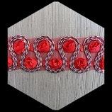 Galon tulle roses rouges brodé lurex argent et rouge 4.5 cm GAL020