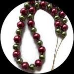Collier perles nacrées rouges et vertes COL010