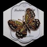 Broche papillon noir à strass BRO035