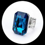Bague élastique homme imitation cristal turquoise BAG060