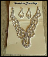 Parure collier et boucles d'oreilles strass style rivière de princesse PAR004