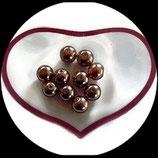 lot 10 perles de verre limpides nacrées marron 10 mm création bijoux Réf : 1559