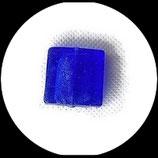 Perles de verre  palet carré à feuille d'argent  20 X 20 mm bleu royal Réf : 1057