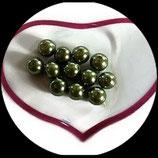 lot de 12 perles de verre nacrées vert  10 mm création bijoux Réf : 1566