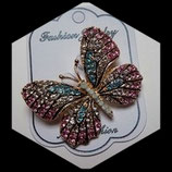 Broche papillon rose à strass BRO033